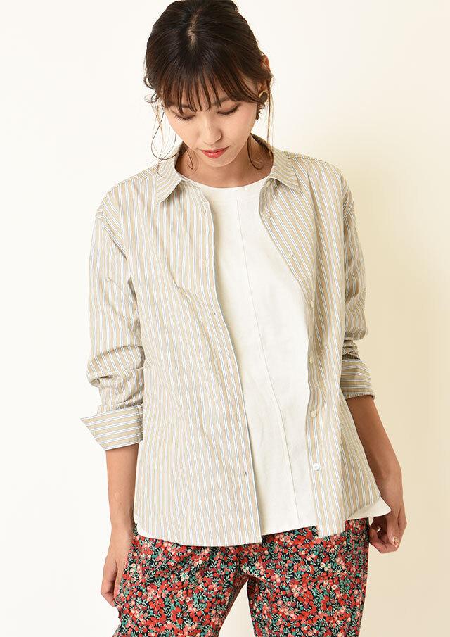 ◆100/2ストライプリラックスシャツ【HW051501】【61】