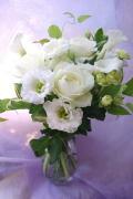 花瓶付花束(ホワイト)