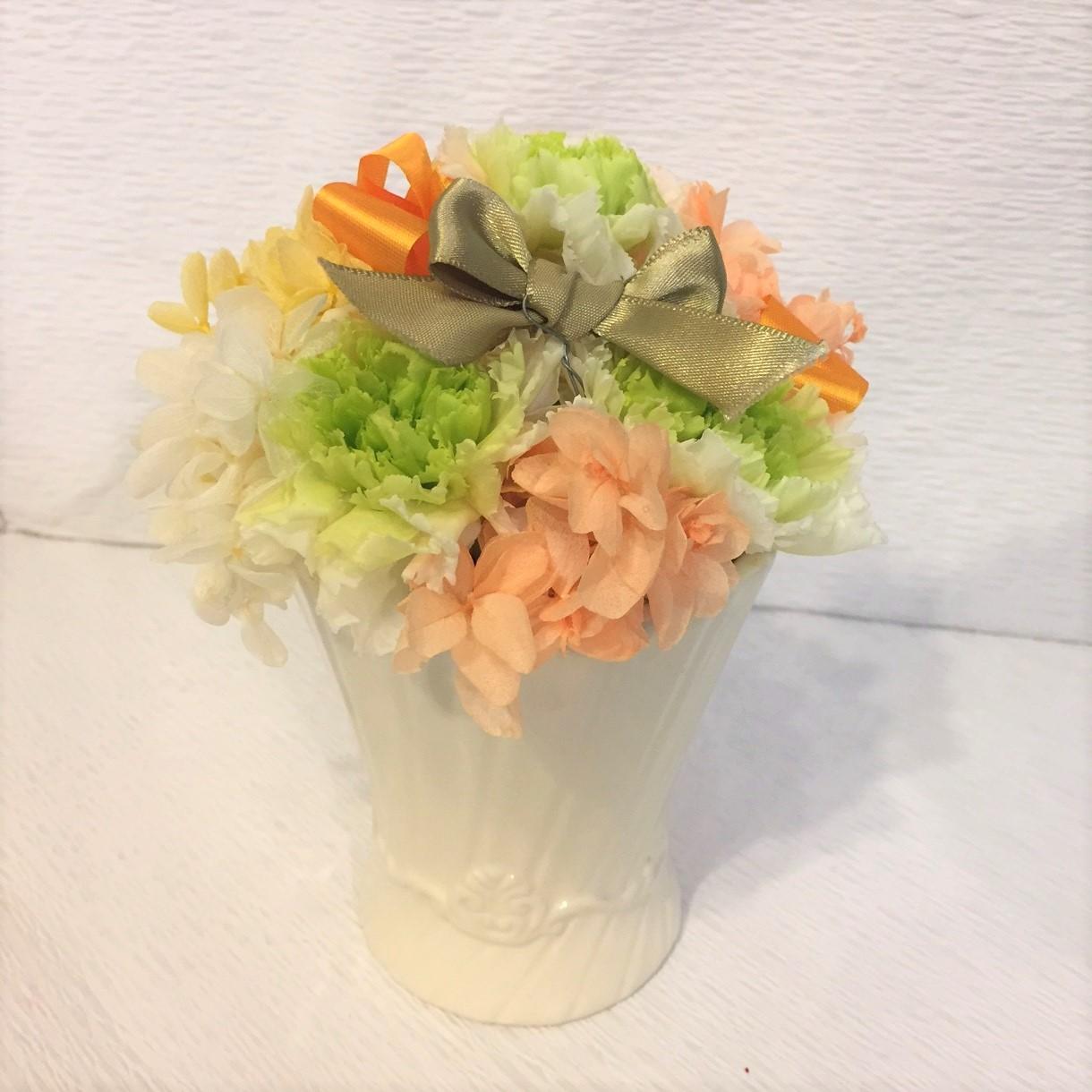 母の日 カーネーション プリザーブドフラワーアレンジ グリーン・オレンジ [HP-5000-1]