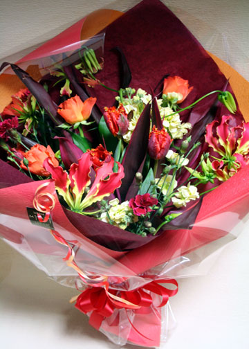 花束 グロリオサ バラ レッド[B-5000-2]