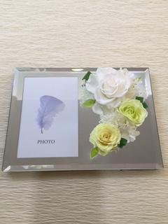 プリザーブドフラワー フォトフレーム ホワイト [PF-4000-5]
