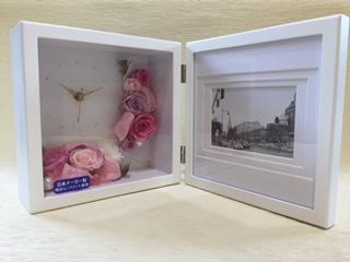 プリザーブドフラワー フォトフレーム付置時計大 バラ ピンク [P-15000-1]