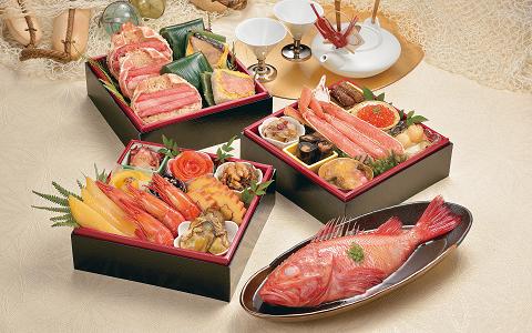 【送料無料】波奈の冷凍おせち三段重+きんき姿煮 北の漁師膳