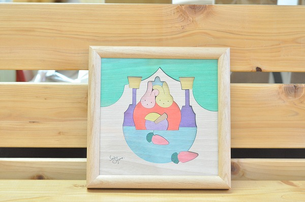 【1セットのみ入荷】 雛人形 遊プラン・小黒三郎 組み木絵 ウサギそいびな