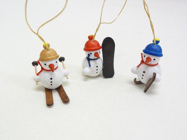 クリスマスオーナメント オーナメント スノースポーツの雪だるま3個セット