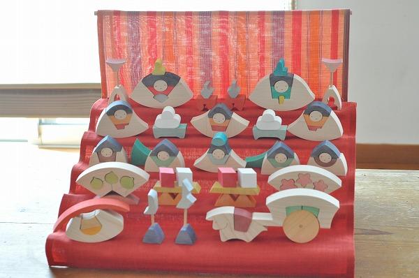 雛人形 遊プラン・小黒三郎 楕円びな五段飾り (普通垂幕つき 赤)