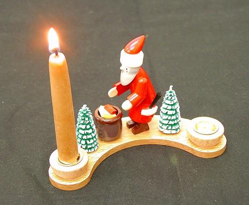 クリスマスキャンドル キャンドルスタンド(カーブ)・サンタ