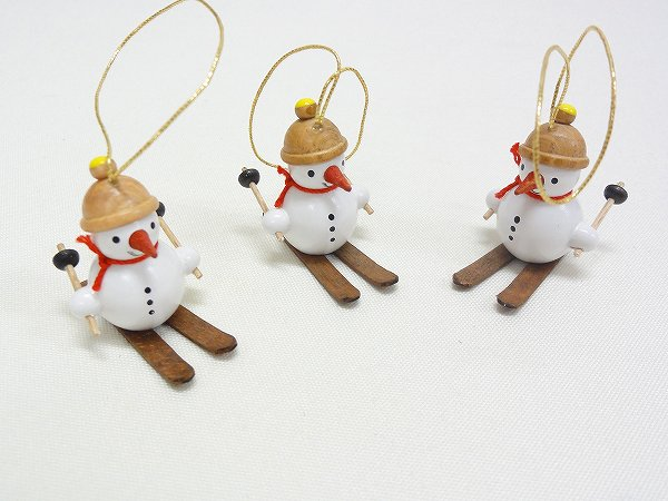 クリスマスオーナメント オーナメント スキーの雪だるま3個セット
