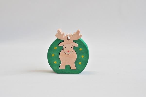 【木のおもちゃ杢】 クリスマス組み木オーナメント トナカイリース