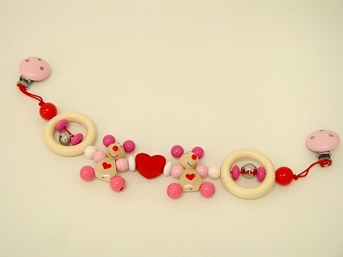 ベビーカーのおもちゃ ハイメス社(HEIMESS) ベビーカーチェーン・ねずみ(ピンク)