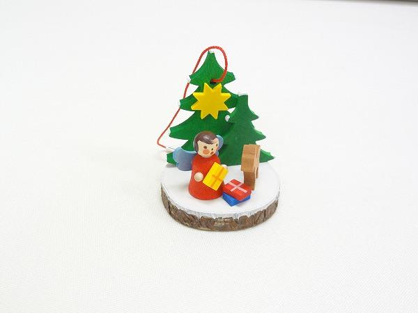 クリスマスオーナメント オーナメント 切り株と天使