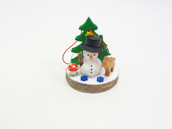 クリスマスオーナメント オーナメント 切り株と雪だるま