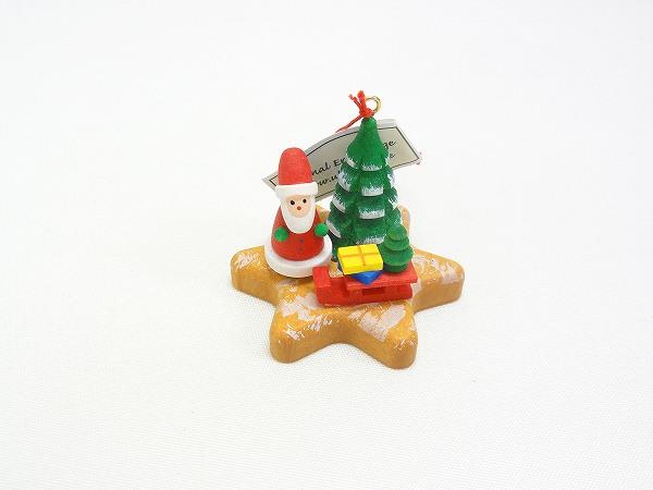 クリスマスオーナメント オーナメント クッキーの上のサンタ