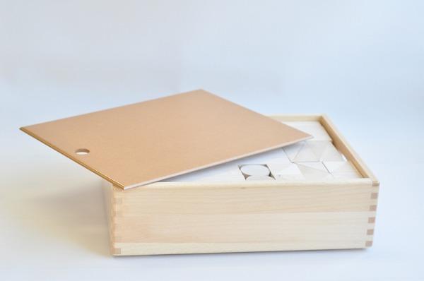 ふた付き木箱入り 白木の積木 基本セット