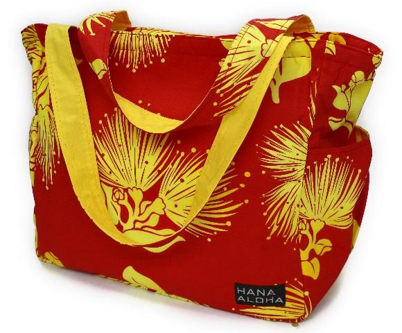 set-003フラレッスンバッグ-赤地に黄色のレフアのお花柄/レッスン・ご旅行に最適なHANA ALOHAオリジナルバック