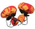 UC-0165 ウリウリカバー 赤地にやまぶき色とオレンジ、黒のの大きなモンステラの葉が鮮やかですてきなウリウリケース