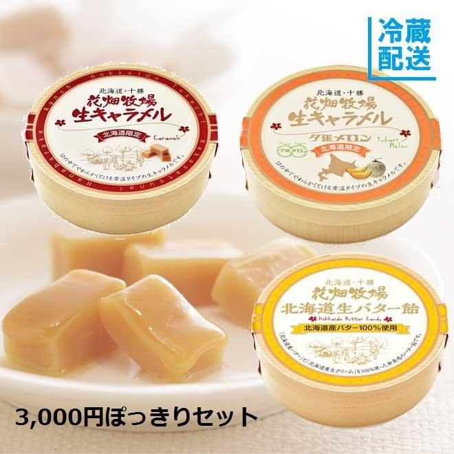 花畑牧場 3,000円ポッキリ!セット(生キャラメル2種+生バター飴)【冷蔵配送】
