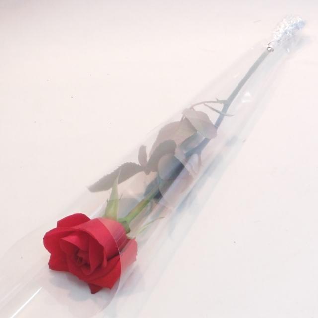 【1本ラッピング】バラ《カード・リボンなし》:(色おまかせ10本セット) /Mサイズ〔注文から4日以降のお届け〕