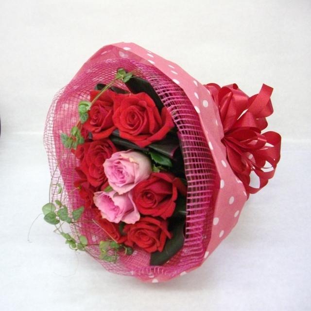 【花束:ブーケタイプ】ピンク系