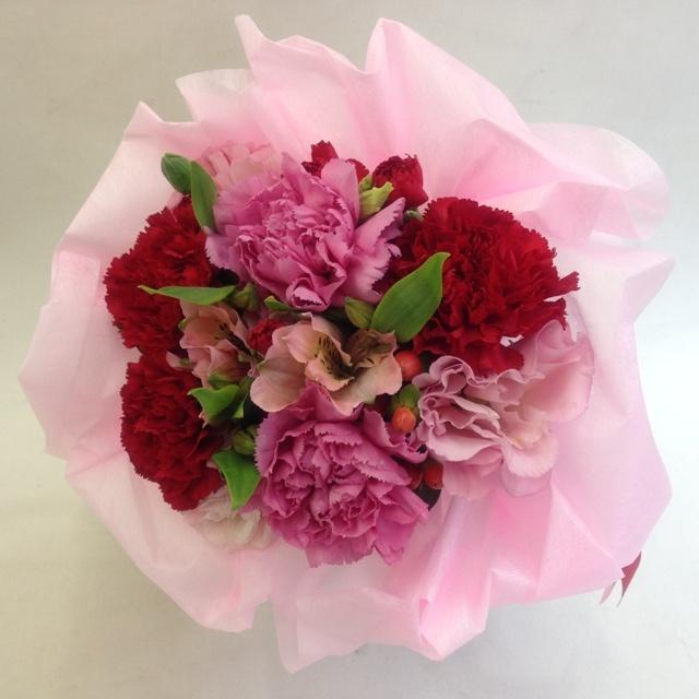 ★花束:ブーケタイプ★赤ピンク系