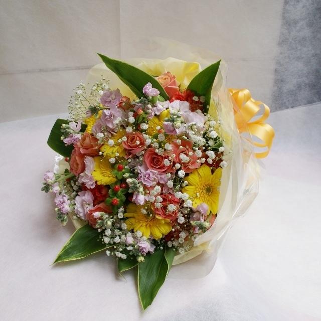 【花束:ブーケタイプ】黄色オレンジ系