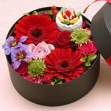 BR-112-02R フラワーボックス flower box ケーキ(アレンジフラワー)