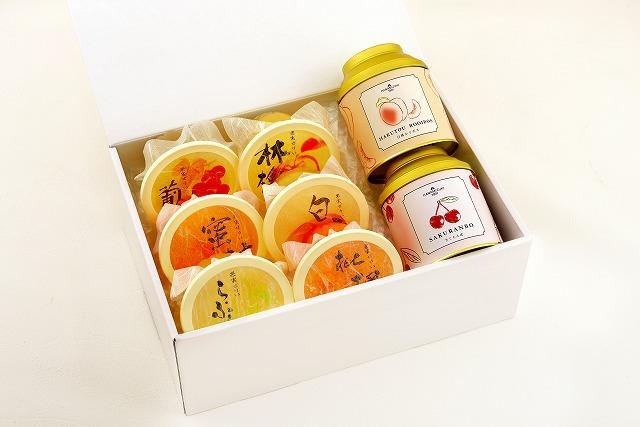 夏の缶入り限定茶2種と丸ごと果実ゼリー6個