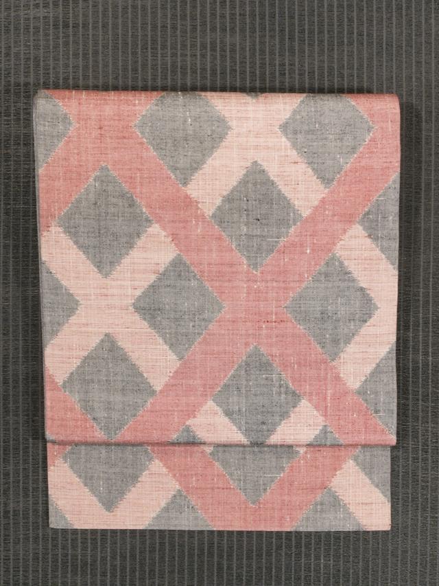 斜め格子縞文様 絣織り 名古屋帯