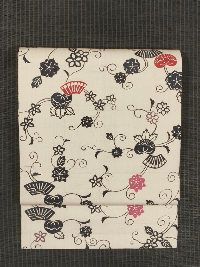 花唐草文に扇文様 型染め 紬 名古屋帯
