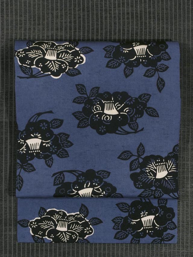 椿文様 型染め 紬 名古屋帯