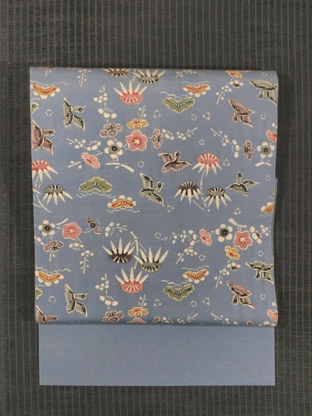 松竹梅に鳥文様 型絵染め 紬 名古屋帯