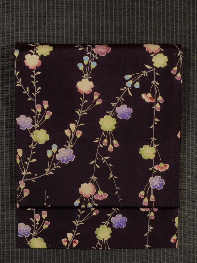枝垂れ桜文様 型染め 名古屋帯