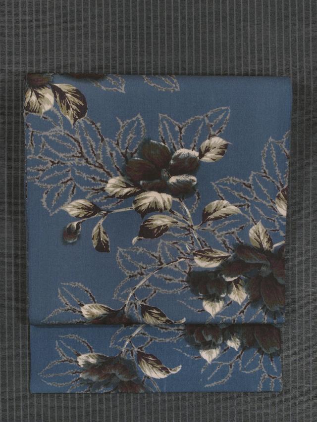 椿文様 型染め 名古屋帯