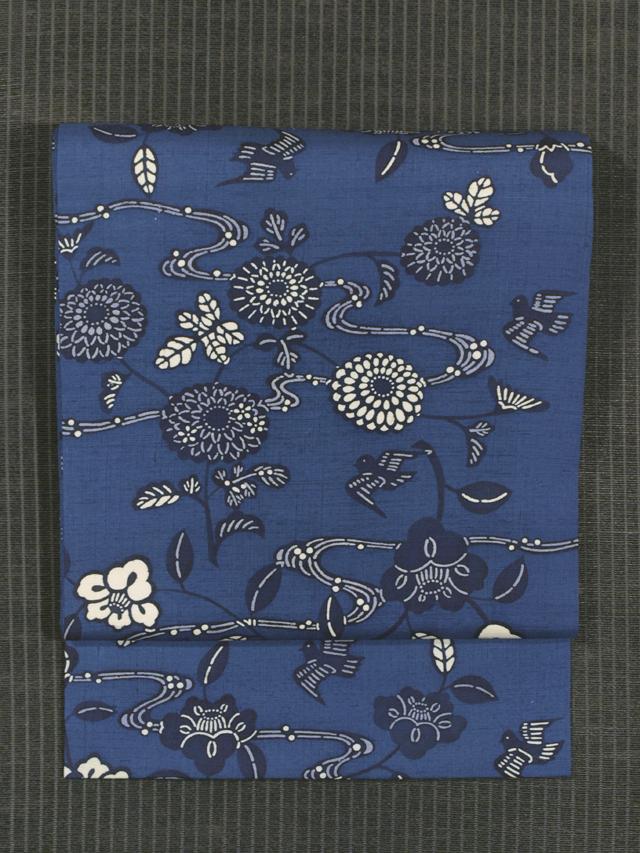 流水に草花と鳥文様 藍型染め 紬 名古屋帯
