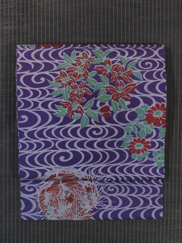 観世水に花丸文様 型染め 名古屋帯