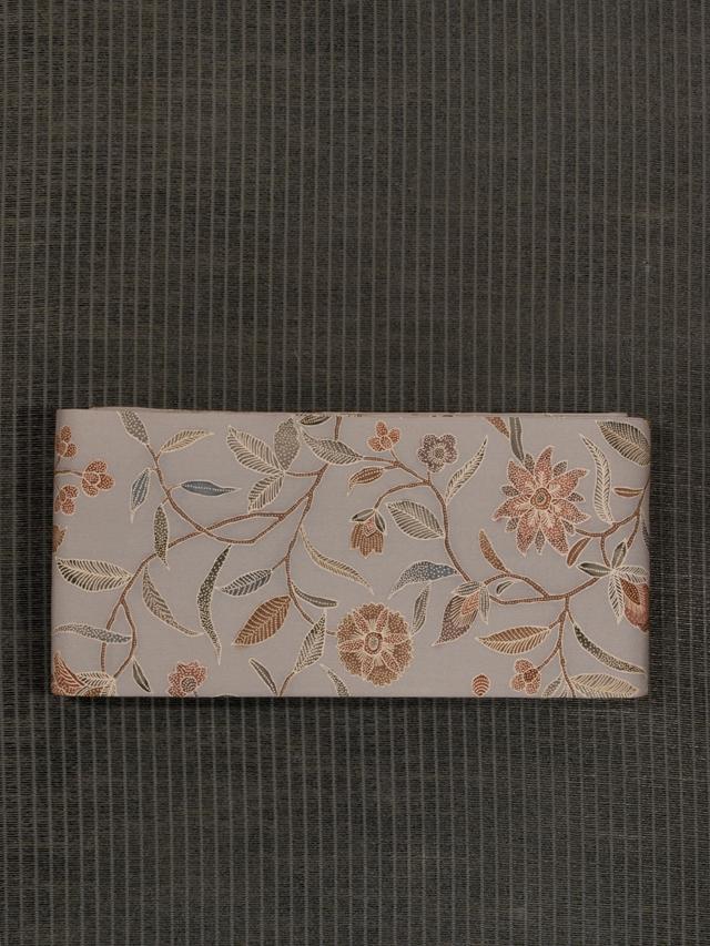 唐花文様 型染め 半巾帯