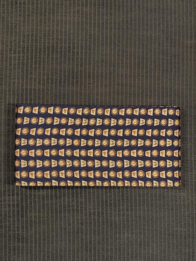 丸と四角に野菜と器物文様 型染め 半巾帯