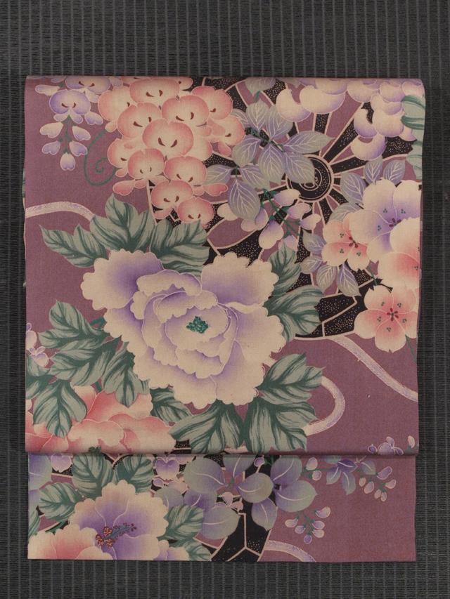 花車文様 型染めに手描き染め 名古屋帯