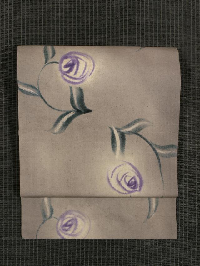 薔薇文様 手描き染め 綿紬 名古屋帯