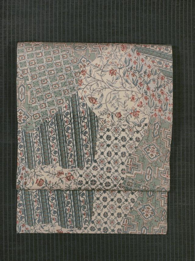 切りばめに更紗文様 型染め 名古屋帯