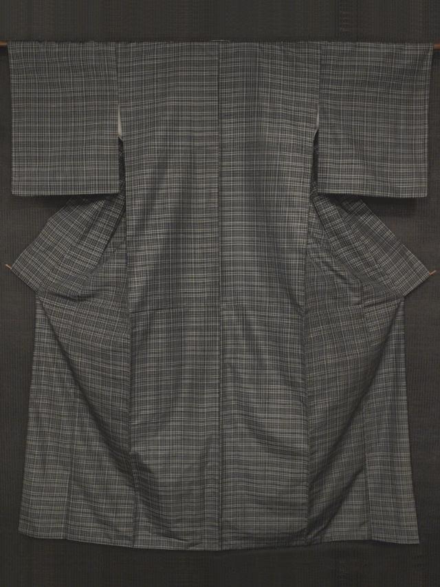 黒色地 格子縞文様 絣織 紬 袷