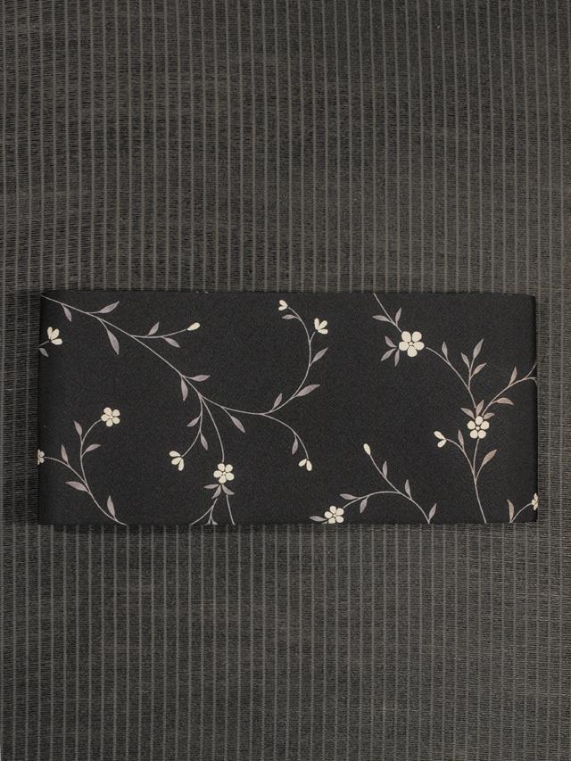 花唐草文様 型染め 半巾帯