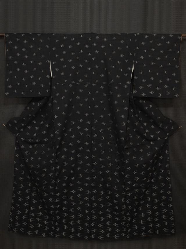 鳥(トゥイグワー)文様 絣織り 付下げ小紋 生紬 袷