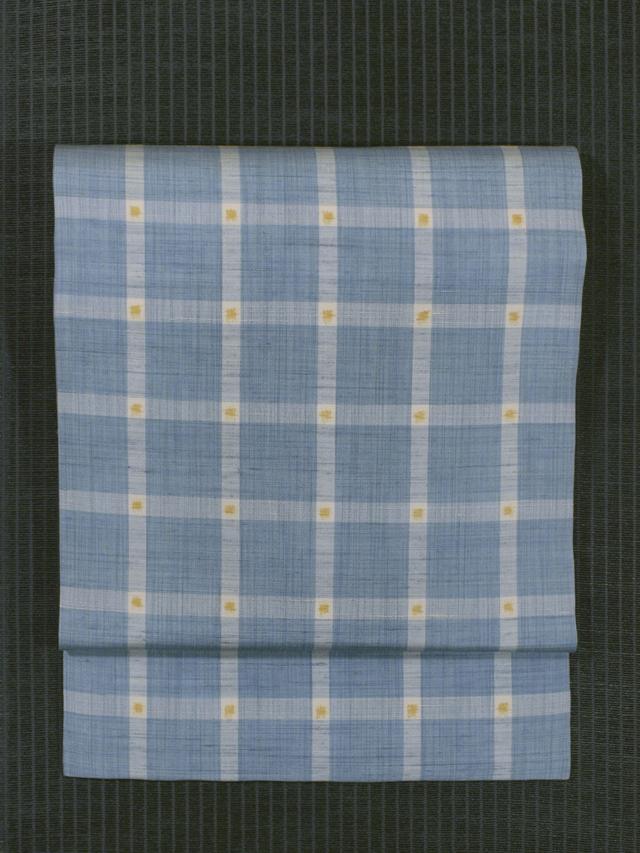 格子縞文様 絣織り 真綿紬 名古屋帯