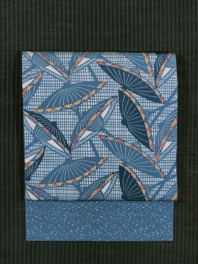 格子に傘文様 型染め 名古屋帯