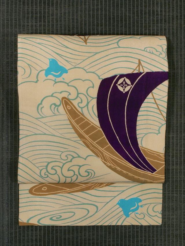 波に帆掛け舟と千鳥文様 型染め 名古屋帯
