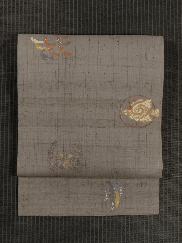 魚と蟹文様 型染め 生紬 名古屋帯