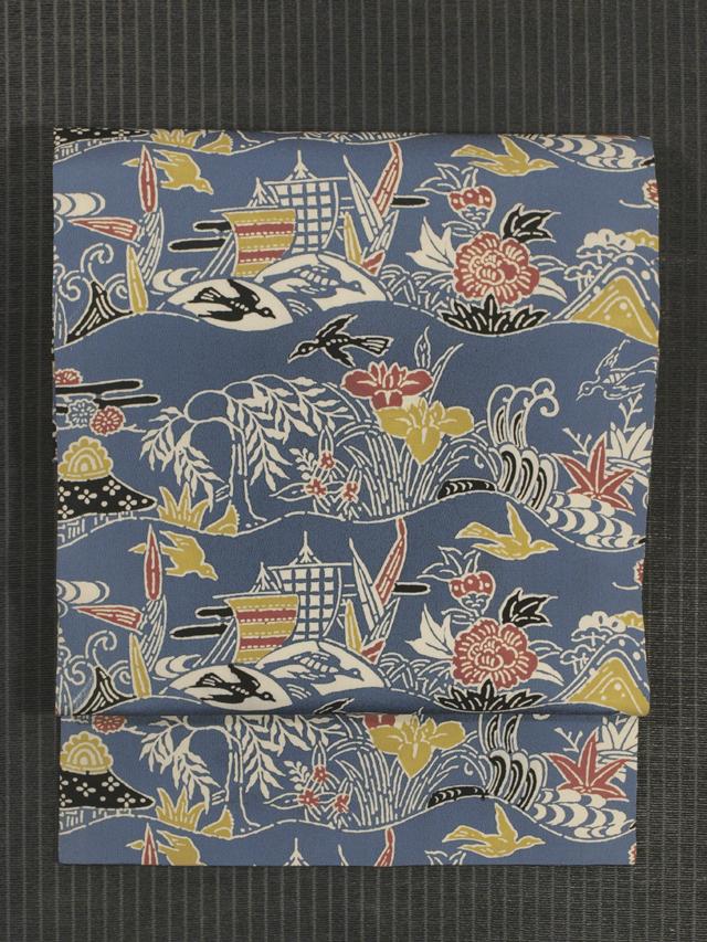 波縞に草花と鳥文様 型染め 名古屋帯