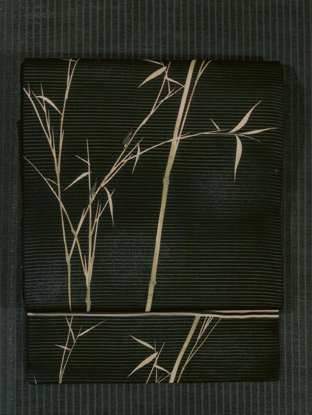 葦(よし)に蛍文様 染めに手刺繍 絽 名古屋帯