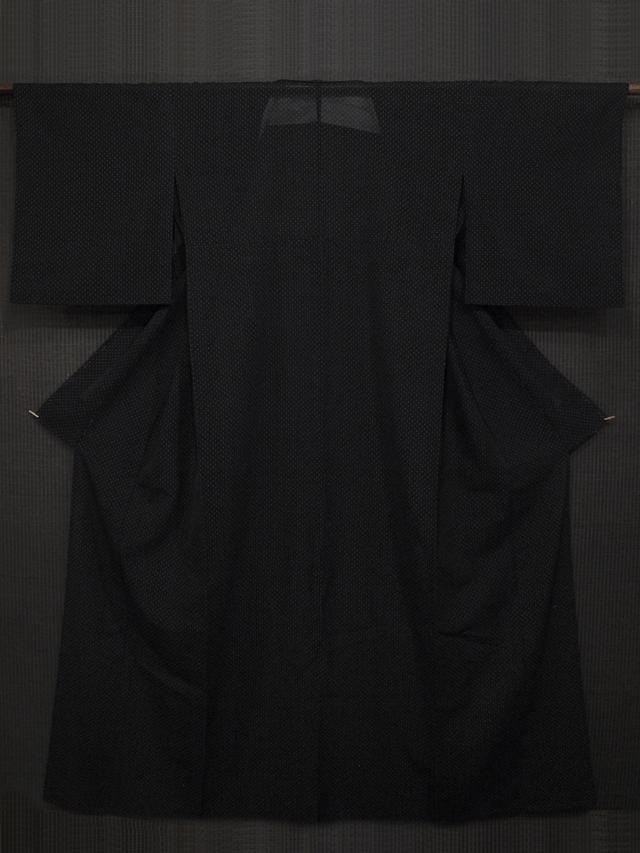 黒地に十字絣文様 紗紬 単衣